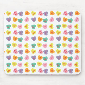 Conversation Candy Hearts Mouse Pad