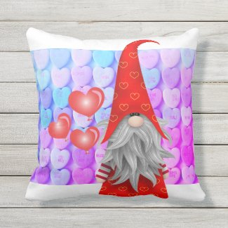 Conversation Heart Valentines Gnome Outdoor Pillow