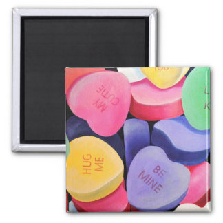 Conversation Hearts 2 Inch Square Magnet