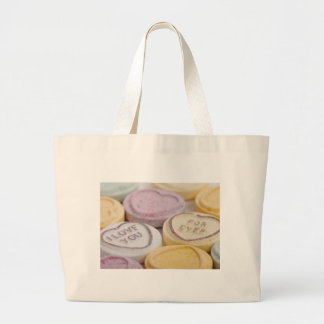 Conversation hearts candy I Love You Forever photo Large Tote Bag