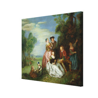 Conversation in a Park Stretched Canvas Print