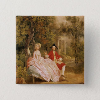 Conversation in a Park, portrait of the artist and Pinback Button