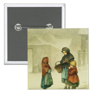 Conversation in the Snow 2 Inch Square Button
