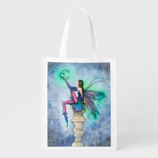 Conversation with the Moon Fairy Fantasy Art Grocery Bags