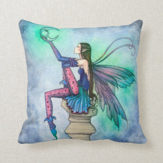 Conversation with the Moon Fairy Fantasy Art Throw Pillow