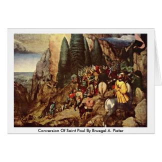 Conversion Of Saint Paul By Bruegel A. Pieter Greeting Card