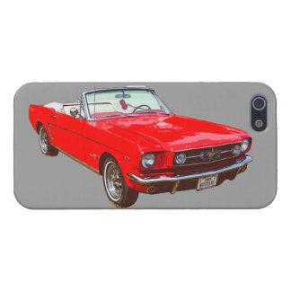 Convertible 1965 del mustango de Ford del rojo iPhone 5 Funda