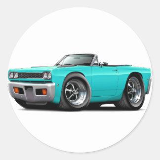 Convertible 1968 de la turquesa del Roadrunner Pegatina Redonda