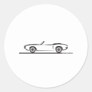 Convertible 1968 de Pontiac Firebird Etiqueta Redonda