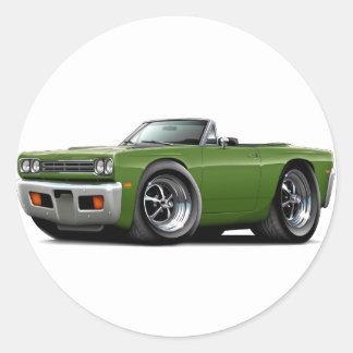 Convertible 1969 de la hiedra del Roadrunner Pegatina Redonda