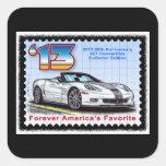 Convertible 2013 del aniversario del Corvette 60.o Calcomanías Cuadradas Personalizadas