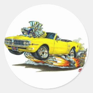 Convertible amarillo 1967-68 de Firebird Pegatina Redonda