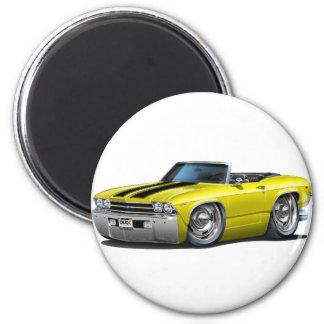 Convertible Amarillo-Negro 1969 de Chevelle Imán Redondo 5 Cm