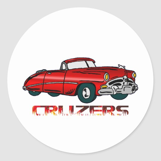 Convertible and Flames Classic Round Sticker