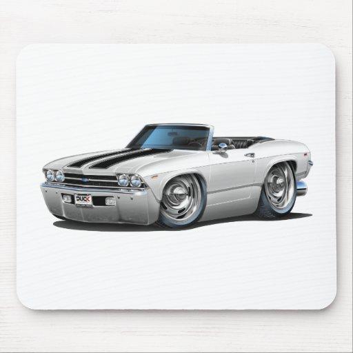 Convertible Blanco-Negro 1969 de Chevelle Alfombrillas De Ratones