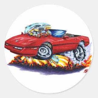 Convertible de rubíes 1984-93 del Corvette Pegatinas Redondas