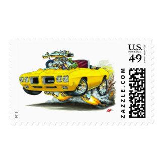 Convertible del amarillo del juez de 1970 GTO Sellos