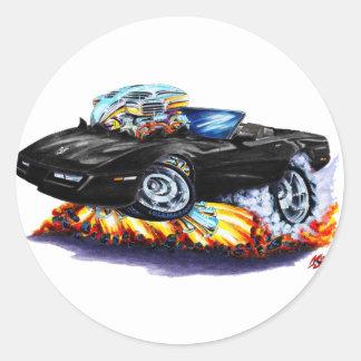 Convertible negro 1984-93 del Corvette Pegatina Redonda