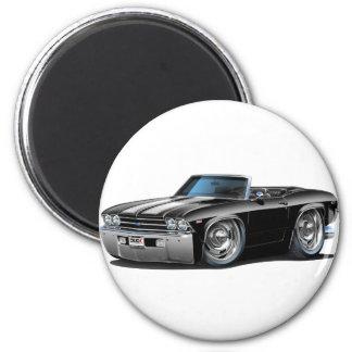 Convertible Negro-Blanco 1969 de Chevelle Imán Redondo 5 Cm
