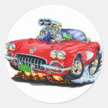 Convertible rojo 1958-60 del Corvette Etiquetas Redondas