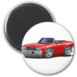Convertible rojo 1969 de Chevelle Imán Redondo 5 Cm