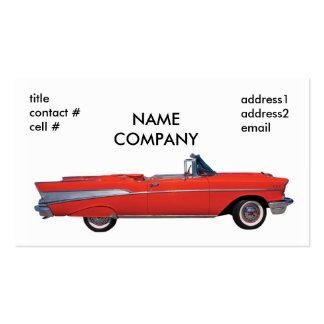 convertible rojo clásico tarjetas de visita
