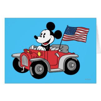 Convertible rojo de Mickey el | del día de fiesta Tarjeta De Felicitación