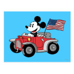 Convertible rojo de Mickey el   del día de fiesta Tarjetas Postales