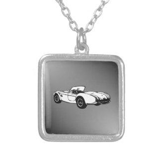 Convertible Sports Car Square Pendant Necklace