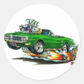 Convertible verde 1967-68 de Firebird Etiqueta Redonda