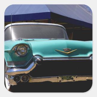 Convertible verde de Cadillac de Elvis Presley ade Calcomanía Cuadradas
