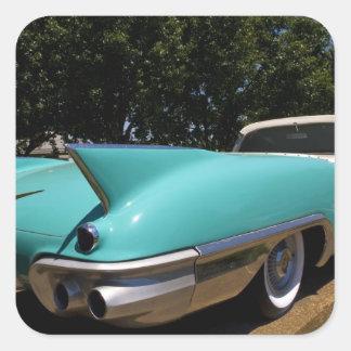 Convertible verde de Cadillac de Elvis Presley Pegatina Cuadrada