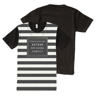 Convict Halloween Costume, Mugshot Custom Text All-Over-Print T-Shirt