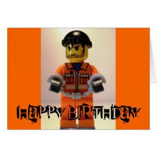 Convict Prisoner Minifig Happy Birthday Card