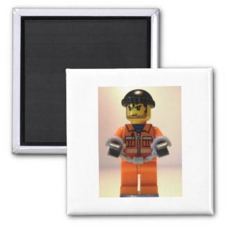 Convict Prisoner Minifig with Handcuffs 2 Inch Square Magnet