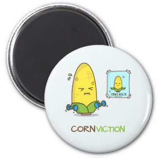 Conviction punny corn workout cartoon 2 inch round magnet