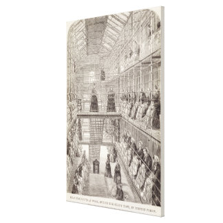 Convicts de la hembra en el trabajo durante la hor impresion de lienzo