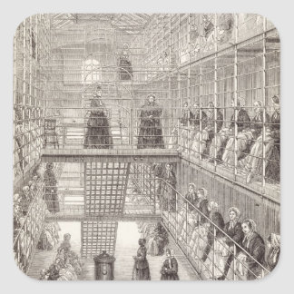 Convicts de la hembra en el trabajo durante la pegatina cuadrada