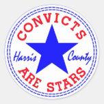 Convicts (Retro) Blue Classic Round Sticker