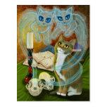 Convocar a viejos amigos, postal del arte del gato