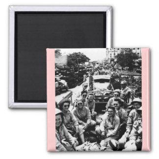 Convoy de las enfermeras WWII Imán Cuadrado