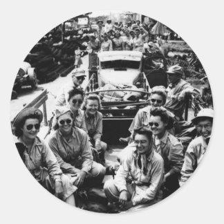 Convoy of Nurses WWII Classic Round Sticker