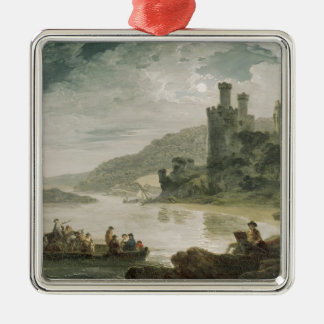 Conway Castle, 1794 Square Metal Christmas Ornament