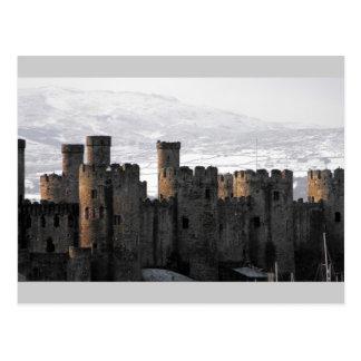conwy castle in snow postcard