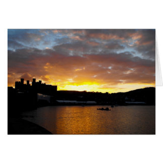 Conwy castle sunset card