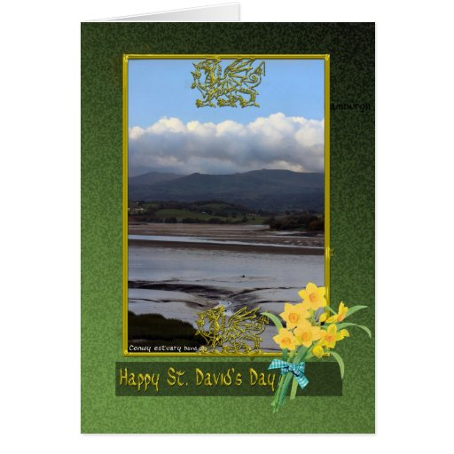 Conwy river mud flats Wales, St. David's Day, Phot Greeting Card