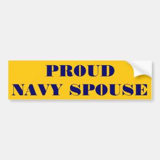 Cónyuge orgulloso de la marina de guerra de la peg pegatina para auto