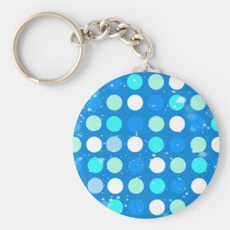 Coo big blue, white, light blue polka dots keychain