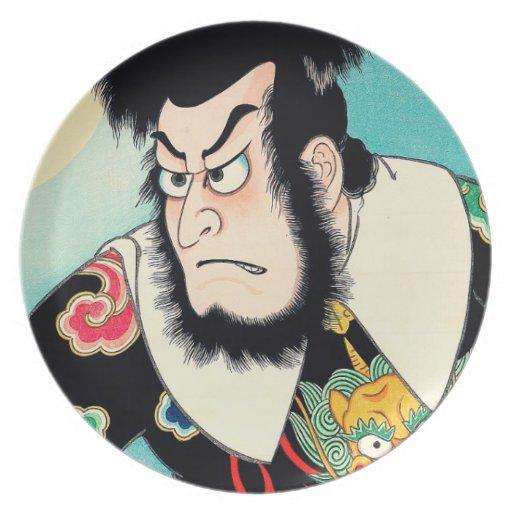 Coo; Oriental Japanese Kezori Kyuemon tattoo Party Plates