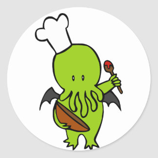 Cook Along With Cthulhu Round Stickers